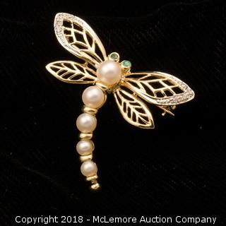 14K Yellow Gold Diamond Emerald and Pearl Dragonfly Broach