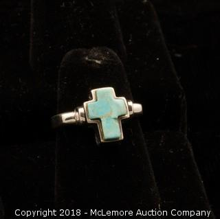 Silver Turquoise Cross Ring
