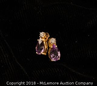 14K Yelllow Gold Amethyst and Diamond Earrings