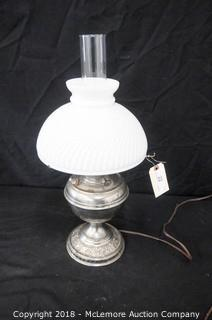 Oil Lamp Converted to Electric with Inner Globe and Shade