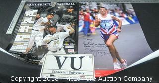 Signed Vanderbilt Baseball Poster(Dave Price,Red Sox World Series Winner), Steve Jones Marathon Poster and Vanderbilt License Plate