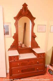 Solid Wood Eastlake Style Marble Top Vanity with Mirror