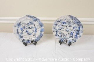 Pair of Italian Made Hand Painted Decorative Plates