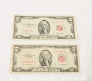 (2) 1953 Red Seal Two Dollar Note