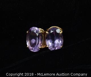 14K Yellow Gold Oval Cut Amethyst Stud Earrings