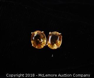 Yellow Topaz Stud Earrings