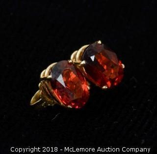 10K Yellow Gold and Garnet Stud Earrings