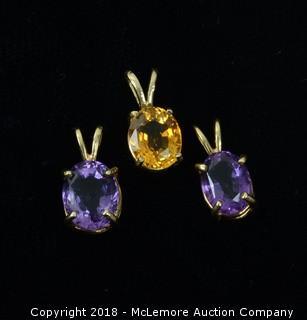 (3) Oval Cut Gemstone Pendants