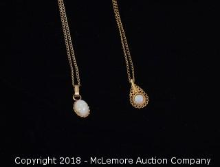 (2) Yellow Gold Chains with Opal Pendants