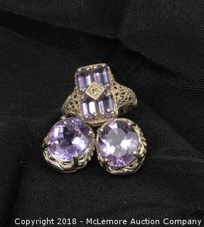 Sterling Silver and Amethyst Matching Jewelry