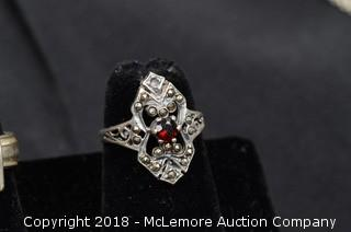 Sterling Silver Garnet and Marcasite Ring