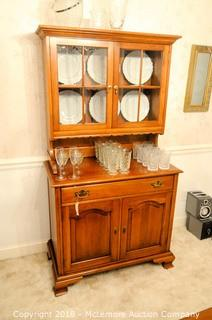 Wooden China Cabinet With Glass Upper Doors, Drawer and Lower Cabinets