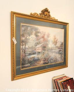 Razzberry Creek Crossing Print by Carl Valente in Ornate Frame