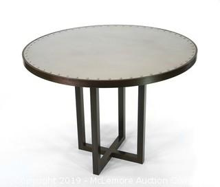 French Industrial Zinc Top Table