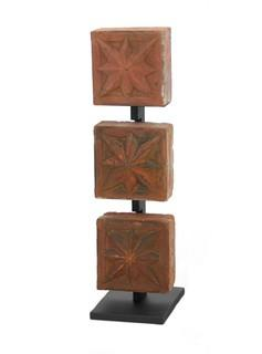 Antique Terracotta Triptych Display