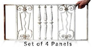 (4) Antique Wrought Iron Panel