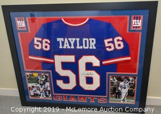 Lawrence Taylor Signed and Framed New York Giants Jersey with JSA Certification