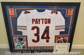 Walter Payton Signed and Framed Chicago Bears Jersey with Hologram