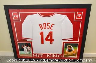 Pete Rose Signed and Framed Cincinnati Reds Jersey with JSA Certification