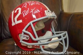 AJ McCarron Signed Alabama Speed Helmet with Radtke Sports Hologram