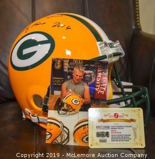 Brett Favre Signed Riddell Authentic Green Bay Packers Helmet with Radtke Hologram
