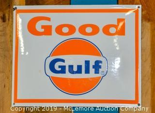 "Gulf ""Good"" Porcelain Sign"