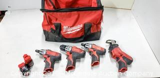 Milwaukee M12 Lithium 12 Volt Cordless Tool Set With Bag