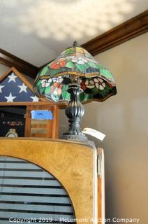 Stain Glass Style Lamp with Metal Base