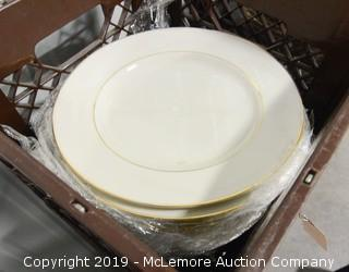 "Strawberry Street Gold Rimmed 12"" Dinner Plates"