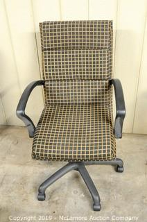 Plaid Upholstered Chair on Casters
