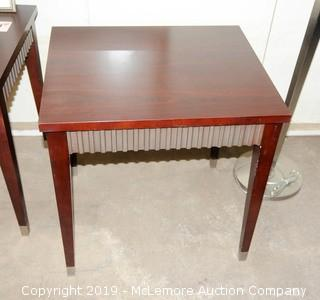 Wooden Side Table with Fluted Design Sides