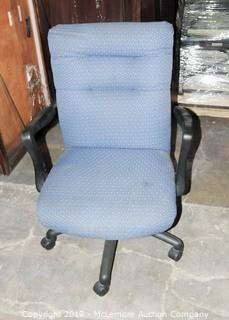 Blue Upholstered Desk Chair on Caster