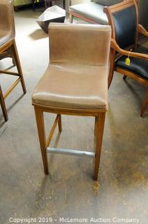 Leather Seat Stool with Wooden Back