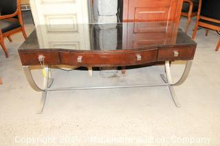 Curved Front Desk with 3 Drawers by Century with Glass Top and Metal Curved Legs