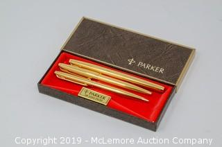(3) Parker 12K Gold Filled Fountain Pen, Ball Point, and Pencil