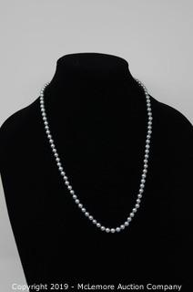 Dyed Greenish Blue Cultured Pearl Necklace with 14K Gold Clasp