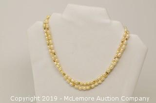 Continuous 37 Inch Long Necklace with Circled Freshwater Cultured Pearls and 3mm Diameter Gold Beads