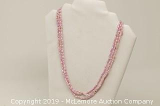 Triple Stand Dyed Pink Freshwater Cultured Pearl Necklace With A 14K Yellow Gold Clasp