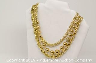 Triple Strand Base Metal Chain With Hollow Beads