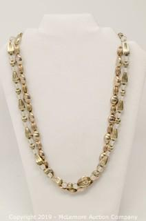 Two Sterling Silver 24 Inch Long Necklaces With Fluted Beads and Frosted Glass