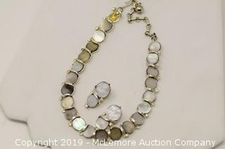 Set of Lisner™ White Base Metal Necklace and Clip-On Earrings Which Holds Mother-of-Pearl Disks