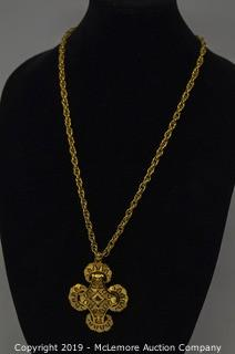 One 78mm Long Gold Tone Cross Pendant on 28 Inch Long Link Chain