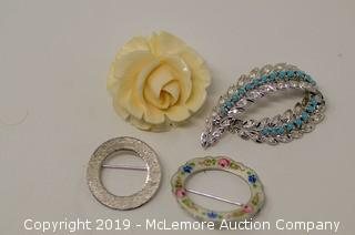 Four Brooches: Three Are Sterling Silver, One Is A Carved Bone Rose