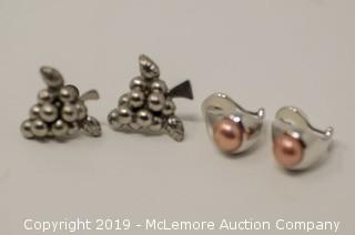 Two Pairs of Sterling Silver Earrings: Grape Cluster Screw Bobs and Pink Freshwater Cultured Pearl Clip Ons