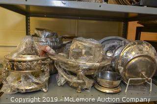 Contents of Shelf: Assorted Silver Plate Serving Dishes