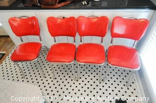 4 Retro Chrome with Red Vinyl Seats and Backs