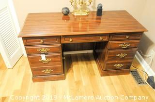 7 Drawer Wooden Desk with Locking Drawers