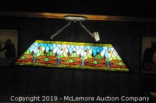 Tiffany Style Light with Dragonfly Design Over Pool Table