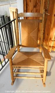 Wooden Rocking Chair with Cane Weaved Bottom and Back
