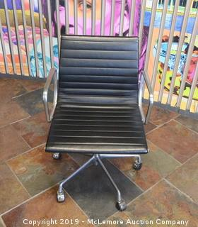 Chrome and Leather Rolling Office Chair